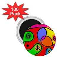 Digitally Painted Patchwork Shapes With Bold Colours 1 75  Magnets (100 Pack)  by Nexatart