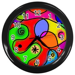 Digitally Painted Patchwork Shapes With Bold Colours Wall Clocks (black)