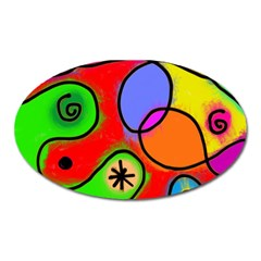 Digitally Painted Patchwork Shapes With Bold Colours Oval Magnet