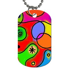 Digitally Painted Patchwork Shapes With Bold Colours Dog Tag (two Sides)