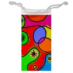 Digitally Painted Patchwork Shapes With Bold Colours Jewelry Bag by Nexatart