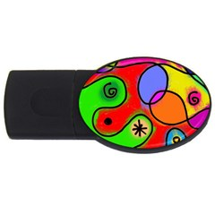 Digitally Painted Patchwork Shapes With Bold Colours Usb Flash Drive Oval (4 Gb)