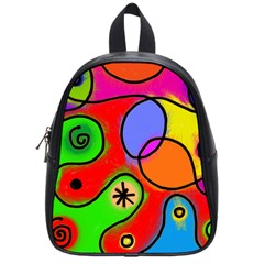 Digitally Painted Patchwork Shapes With Bold Colours School Bags (small)  by Nexatart