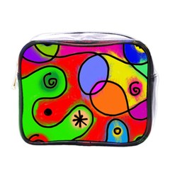 Digitally Painted Patchwork Shapes With Bold Colours Mini Toiletries Bags by Nexatart