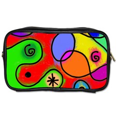 Digitally Painted Patchwork Shapes With Bold Colours Toiletries Bags 2 Side by Nexatart