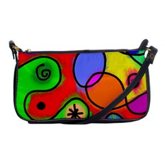 Digitally Painted Patchwork Shapes With Bold Colours Shoulder Clutch Bags by Nexatart