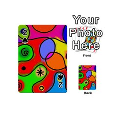 Digitally Painted Patchwork Shapes With Bold Colours Playing Cards 54 (mini)