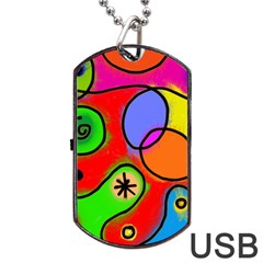 Digitally Painted Patchwork Shapes With Bold Colours Dog Tag Usb Flash (two Sides) by Nexatart
