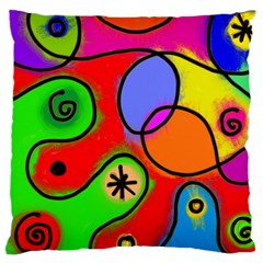 Digitally Painted Patchwork Shapes With Bold Colours Large Cushion Case (two Sides) by Nexatart