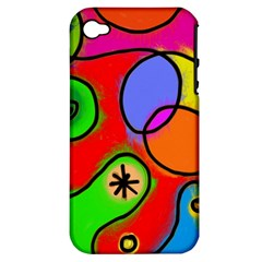 Digitally Painted Patchwork Shapes With Bold Colours Apple Iphone 4/4s Hardshell Case (pc+silicone) by Nexatart