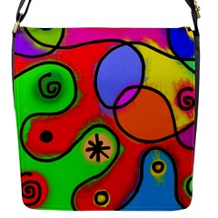 Digitally Painted Patchwork Shapes With Bold Colours Flap Messenger Bag (s)
