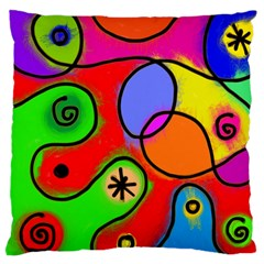 Digitally Painted Patchwork Shapes With Bold Colours Large Flano Cushion Case (two Sides)