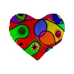 Digitally Painted Patchwork Shapes With Bold Colours Standard 16  Premium Flano Heart Shape Cushions by Nexatart
