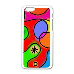 Digitally Painted Patchwork Shapes With Bold Colours Apple Iphone 6/6s White Enamel Case by Nexatart