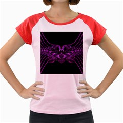 Beautiful Pink Lovely Image In Pink On Black Women s Cap Sleeve T Shirt