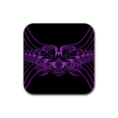 Beautiful Pink Lovely Image In Pink On Black Rubber Coaster (square)