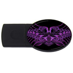 Beautiful Pink Lovely Image In Pink On Black Usb Flash Drive Oval (4 Gb) by Nexatart
