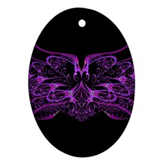 Beautiful Pink Lovely Image In Pink On Black Oval Ornament (Two Sides)