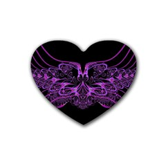 Beautiful Pink Lovely Image In Pink On Black Heart Coaster (4 Pack)  by Nexatart