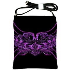 Beautiful Pink Lovely Image In Pink On Black Shoulder Sling Bags by Nexatart