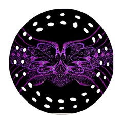 Beautiful Pink Lovely Image In Pink On Black Ornament (round Filigree)