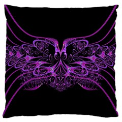 Beautiful Pink Lovely Image In Pink On Black Large Cushion Case (two Sides) by Nexatart