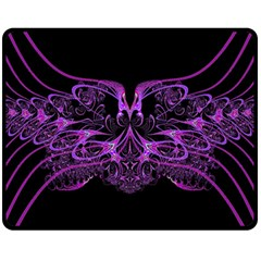 Beautiful Pink Lovely Image In Pink On Black Double Sided Fleece Blanket (medium)