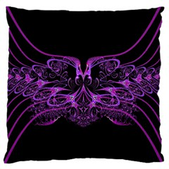 Beautiful Pink Lovely Image In Pink On Black Large Flano Cushion Case (two Sides) by Nexatart