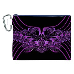 Beautiful Pink Lovely Image In Pink On Black Canvas Cosmetic Bag (xxl) by Nexatart