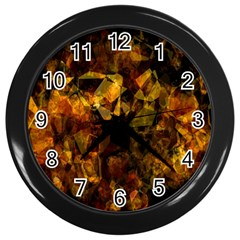 Autumn Colors In An Abstract Seamless Background Wall Clocks (black)