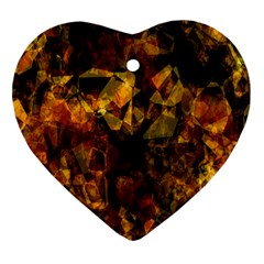 Autumn Colors In An Abstract Seamless Background Heart Ornament (two Sides) by Nexatart