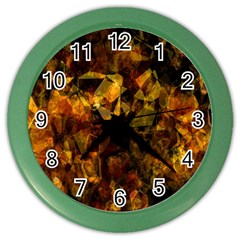 Autumn Colors In An Abstract Seamless Background Color Wall Clocks by Nexatart