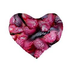 Raspberry Delight Standard 16  Premium Flano Heart Shape Cushions by Nexatart