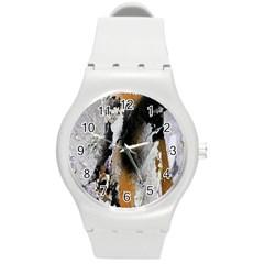 Abstract Graffiti Background Round Plastic Sport Watch (m)