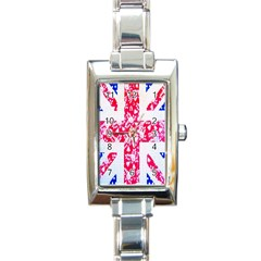 British Flag Abstract British Union Jack Flag In Abstract Design With Flowers Rectangle Italian Charm Watch by Nexatart
