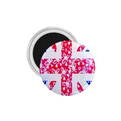 British Flag Abstract British Union Jack Flag In Abstract Design With Flowers 1 75  Magnets
