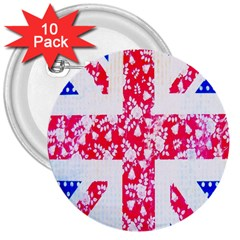 British Flag Abstract British Union Jack Flag In Abstract Design With Flowers 3  Buttons (10 Pack)  by Nexatart