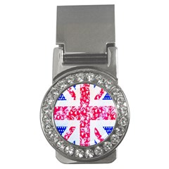British Flag Abstract British Union Jack Flag In Abstract Design With Flowers Money Clips (cz)