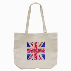 British Flag Abstract British Union Jack Flag In Abstract Design With Flowers Tote Bag (cream) by Nexatart