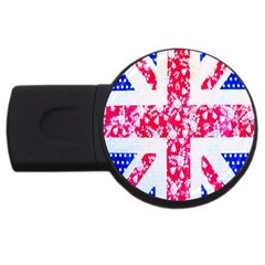 British Flag Abstract British Union Jack Flag In Abstract Design With Flowers Usb Flash Drive Round (4 Gb)