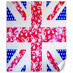 British Flag Abstract British Union Jack Flag In Abstract Design With Flowers Canvas 20  X 24