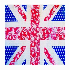 British Flag Abstract British Union Jack Flag In Abstract Design With Flowers Medium Glasses Cloth (2 Side)