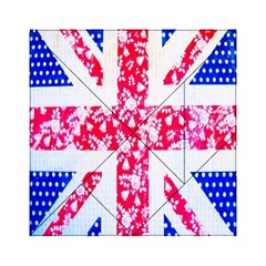 British Flag Abstract British Union Jack Flag In Abstract Design With Flowers Acrylic Tangram Puzzle (6  X 6 ) by Nexatart