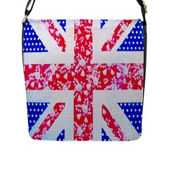 British Flag Abstract British Union Jack Flag In Abstract Design With Flowers Flap Messenger Bag (l)  by Nexatart