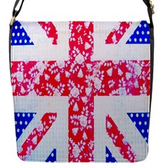 British Flag Abstract British Union Jack Flag In Abstract Design With Flowers Flap Messenger Bag (s)