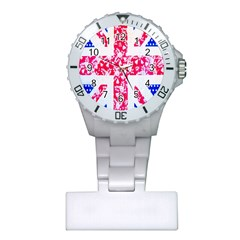 British Flag Abstract British Union Jack Flag In Abstract Design With Flowers Plastic Nurses Watch