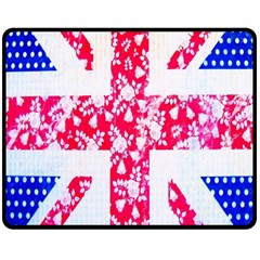 British Flag Abstract British Union Jack Flag In Abstract Design With Flowers Double Sided Fleece Blanket (medium)