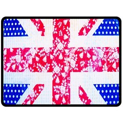 British Flag Abstract British Union Jack Flag In Abstract Design With Flowers Double Sided Fleece Blanket (large)  by Nexatart