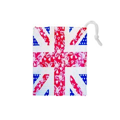 British Flag Abstract British Union Jack Flag In Abstract Design With Flowers Drawstring Pouches (small)  by Nexatart