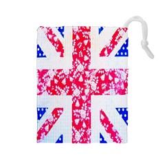 British Flag Abstract British Union Jack Flag In Abstract Design With Flowers Drawstring Pouches (large)  by Nexatart